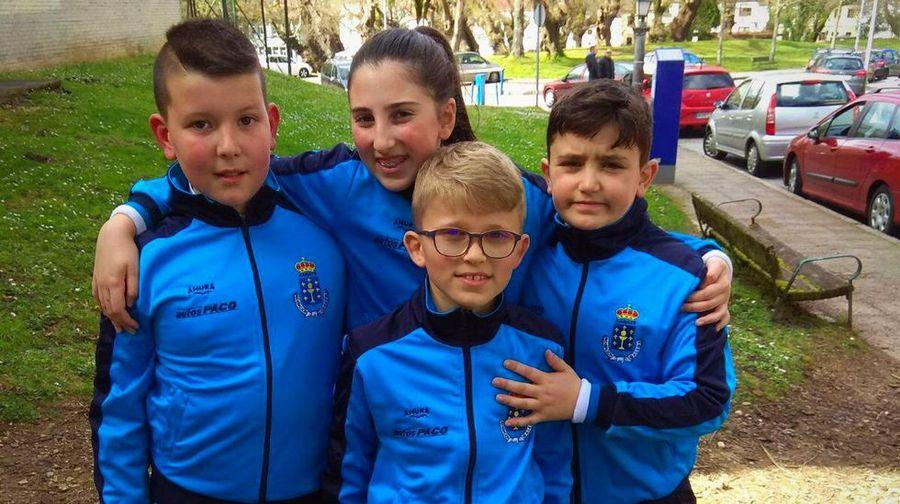 Cuatro infantiles del Akai Ryu Negreira de kárate en el Campeonato de España