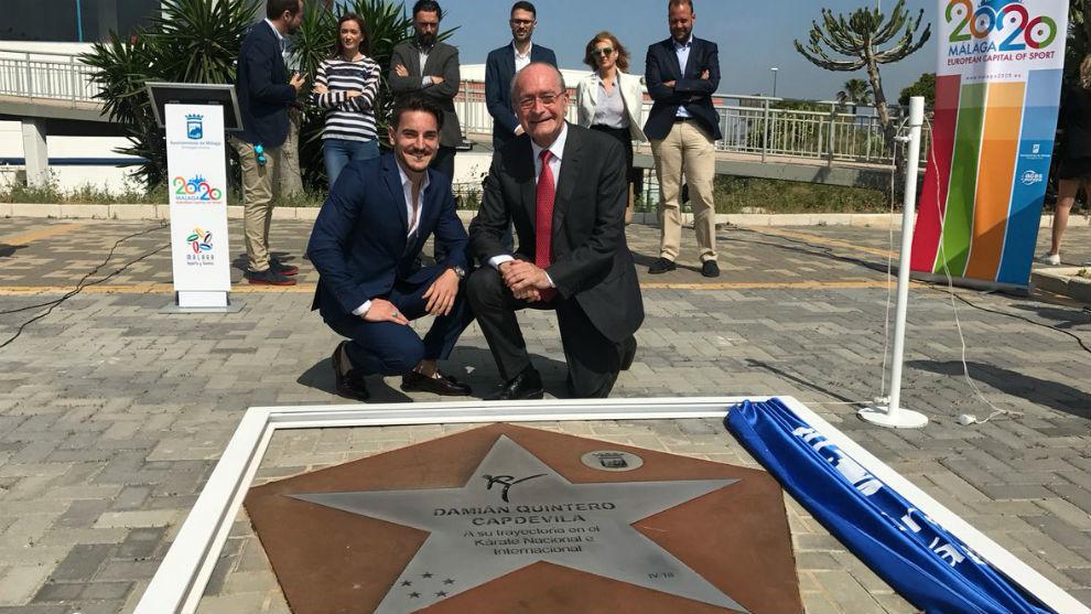 Damián Quintero ya es uno más en el Paseo de las Estrellas de Málaga