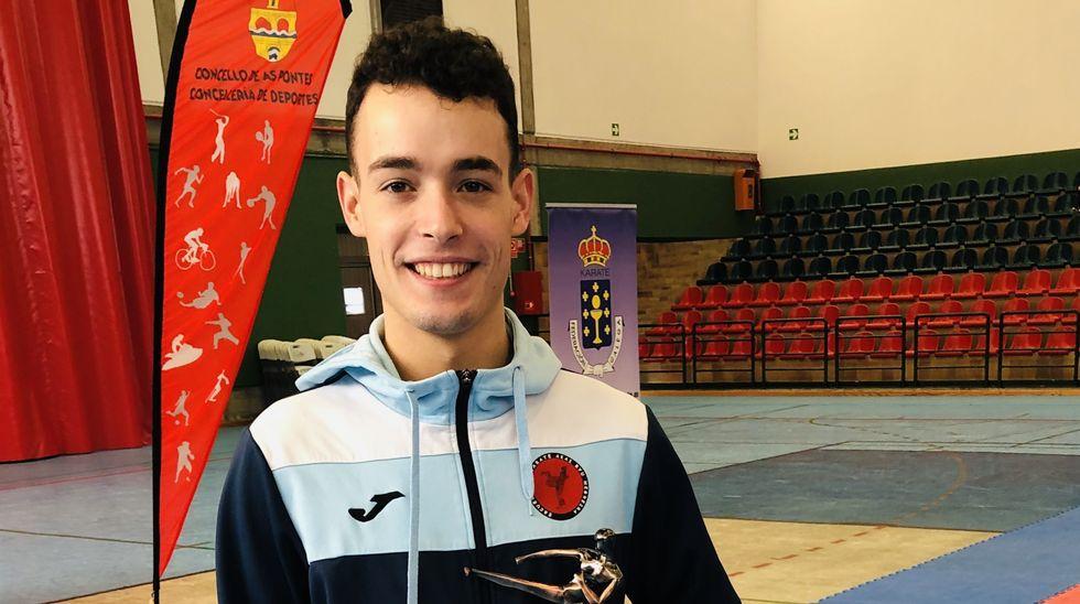 Eros Silvent, del Akai Ryu de Negreira, subcampeón gallego de kárate